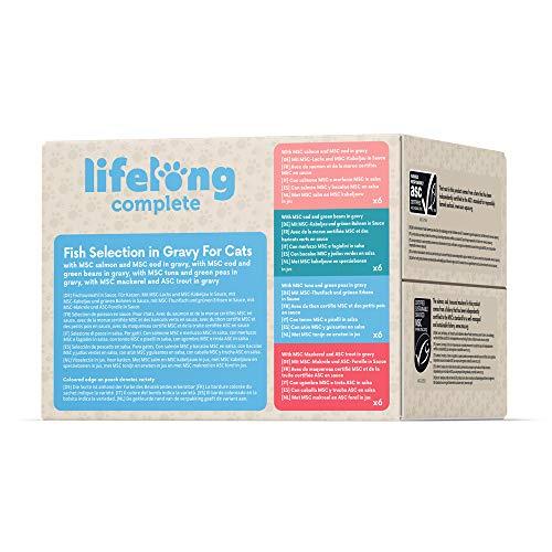 Marca Amazon - Lifelong Alimento completo para gatos adultos - Collección Mar (24 x 85gr)