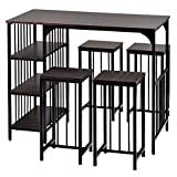 shabi 3-Piece Dining Table Set, Metal Frame Kitchen Table with 2 Benches for 4 People, for Home Kitchen Bar Counter estaurant Furniture Brown