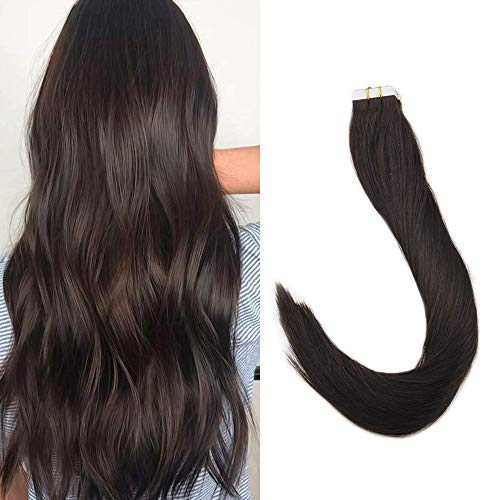 Full Shine 16 Inch 20 Pieces 50 Gram Per Package Dark Brown Color Seamless Extensions Tape In Real Human Hair Skin Weft Double Side Tape Hair Extensions