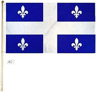 Ant Enterprises 5' Wood Flag Pole Kit Wall Mount Bracket with 3x5 Quebec Canada Polyester Flag