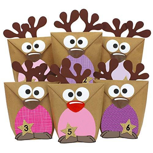 Papierdrachen Rentier Adventskalender zum Befüllen - mit rosa farbigen Bäuchen zum selber Basteln - 24 Tüten zum individuellen Gestalten und zum selber Füllen - Weihnachten 2020 für Kinder
