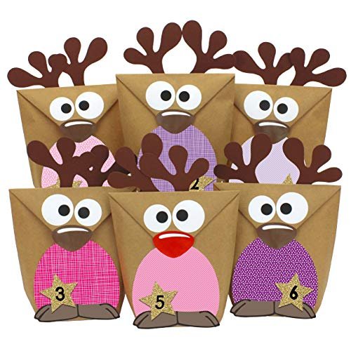 Papierdrachen DIY Adventskalender zum Befüllen - Rentiere mit rosa farbigen Bäuchen zum selber Basteln - 24 Tüten zum individuellen Gestalten und zum selber Füllen - Weihnachten 2019 für Kinder