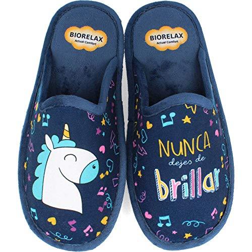 BioRelax - Zapatillas Mujer Unicornio Marino - Azul, 37