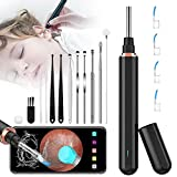 Ear Wax Removal Tool Wireless Endoscope Ear Cleaner with 16pcs Ear Pick Tools, Featured 6 LED Lights, 1296P FHD Earwax Otoscope Camera kit for Kids, Adults,for iOS & Android Phones,Tablets (Black)