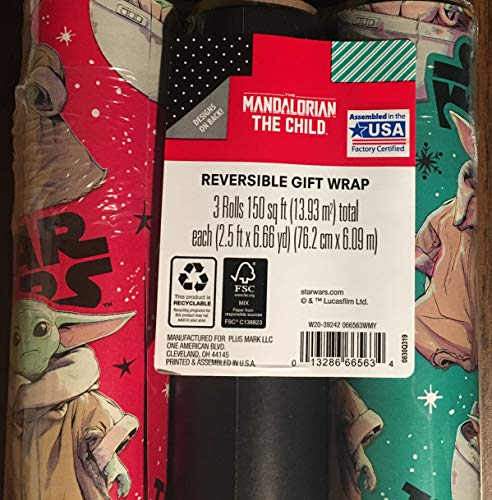 The Mandalorian The Child Christmas Wrapping Reversible Paper 3 Rolls
