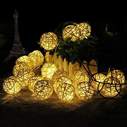 yqs Lichterkette LEDs Rattan Kugeln...