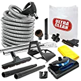 Ultra Clean Central Vacuum kit with Powerhead, Hose and Tools for Beam Electrolux Nutone Hayden fits All Brands White Head (Black, 35ft)