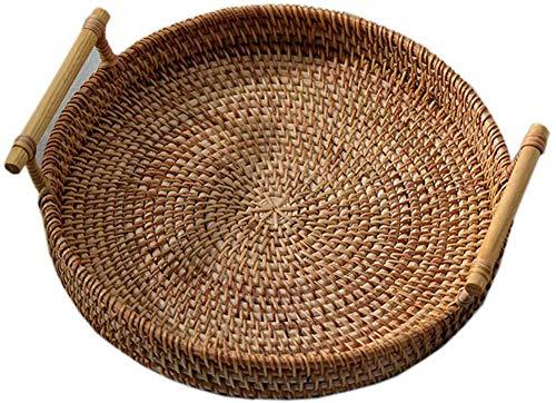 Bandeja de ratán para servir con asas Cesta redonda de ratán Cesta de ratán Bandeja de té tejida redonda Mano