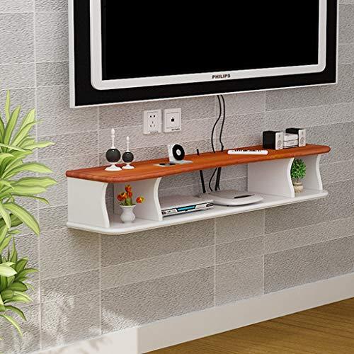Étagère Mural Flottant Meuble télé Console multimédia pour Routeur TV Box Décodeur numérique Dispositif de streaming Console de jeu (Couleur : White+brown, taille : 120cm)