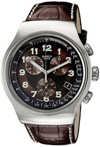 Swatch Men's YOS413 Quartz Stainless Steel Leather Bands Brown Dial Chronograph Luminous Watch