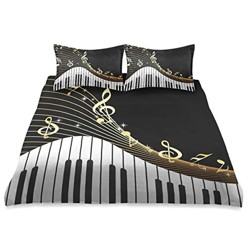 Piano Keyboard Music Note Gold Comforter Set Queen Size Cover Comforter Set Cover All Season Soft and Comfortable Bedding Set Cover Cover,90x90in