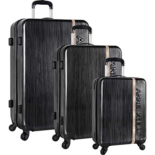 Anne Klein 3 Piece Hardside Spinner Luggage Set, Jet Black