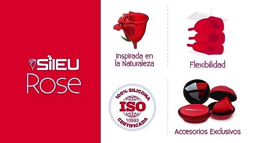 Sileu Travel Plus - Copa menstrual Sileu Rose, Talla L, Rojo, Flexibilidad Standard + Estuche en forma de flor Rojo, 8 cm + Esterilizador eléctrico ...