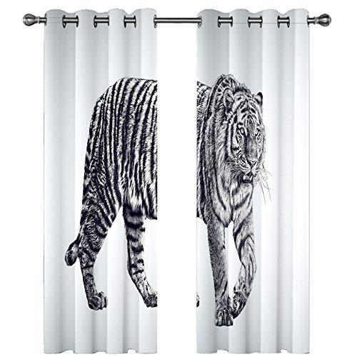 Blackout Curtains White Gray Tiger Eyelet Curtains for Bedroom,Winter Energy Saving/Summer Sun Blocking/Noise Reducing Window Curtain for Living Room 2 x 29.53 x 65.35 inch