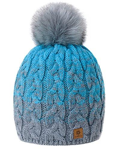 MFAZ Morefaz Ltd MFAZ Morefaz Ltd Damen Herren Winter Beanie Strickmütze Mütze Wurm Fleece Bommel Fashion SKI (Grey Turquoise)