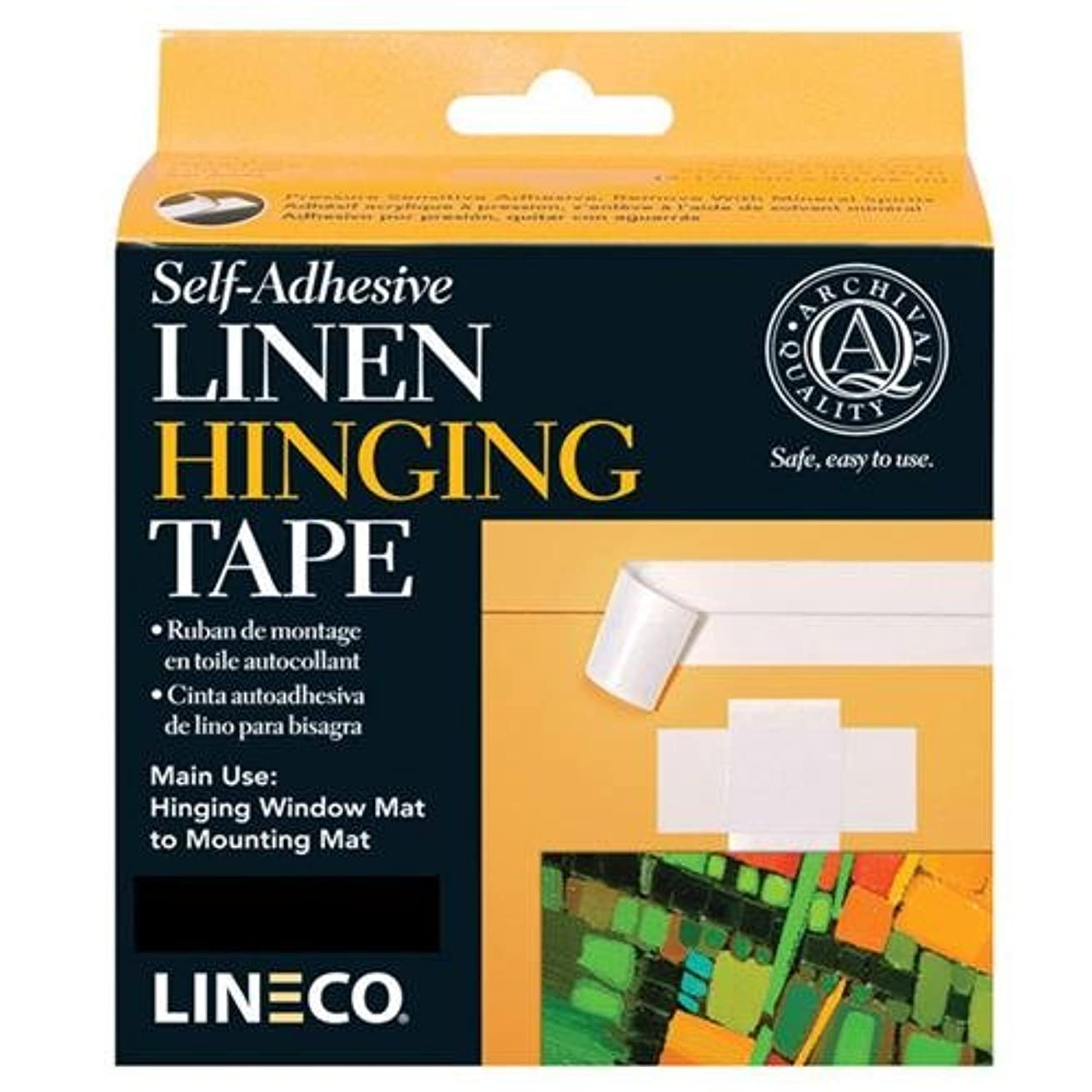 Lineco Linen Self-Adhesive Archival Hinge Tape Black 1.25'' x 150' for Framing, Matting, Bookbinding, Bookmaking, Arts, Crafts and Projects