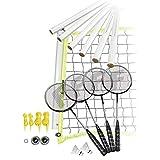 Franklin Sports Badminton Set - Portable Badminton Set - Adult and Kids Badminton Net - Perfect Backyard/Lawn Game - Includes 4 Badminton Racquets - Advanced