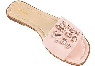 Chumbak Taffy Toes Pink Rhinestone Sliders for Women