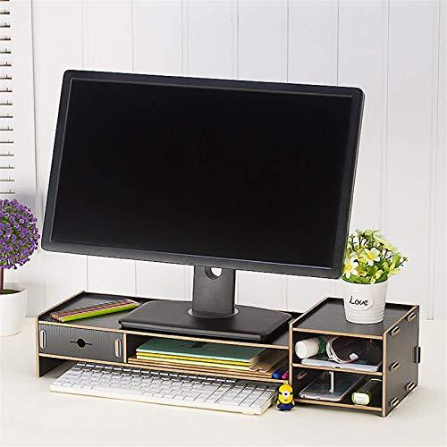 Soporte para monitor de madera, soporte para computadora de escritorio, pantalla LED, LCD, portátil, portátil, soporte de papelería, para computadora portátil (tamaño: 65 x 22 x 14,5 cm)