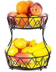 AiteFeir fruktvåningar 2 våningar, fruktskål metall med stativ för, dekorativ fruktförvaring, fruktkorg lämplig för kök och badrum (svart)