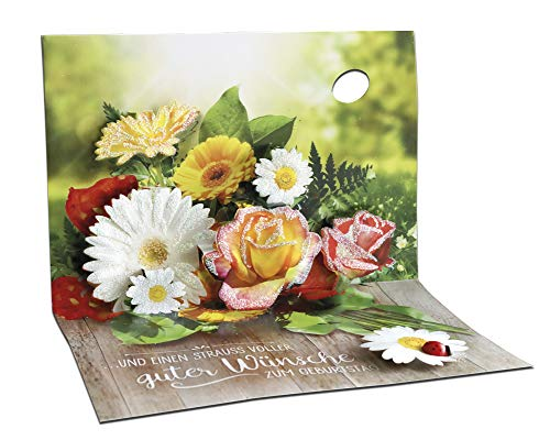 3D Pop – UP Karte Geburtstag, mit Glitter, Geburtstagskarte 3D, POP - UP Karten, POP UP Karten Geburtstag, Motiv: Blumen