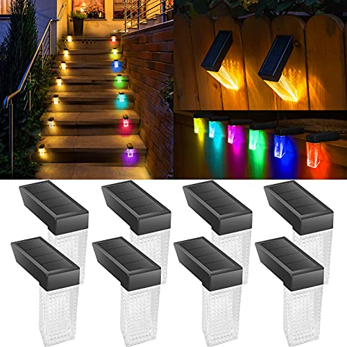 PANMO Solar Deck Lights Outdoor, Solar Step Lights Waterproof Decoration for Porch Pool Fence Stair Patio Yard Garden Railings( Warm White/RGB 8 Pack)