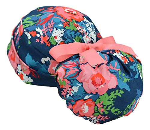 Womens Ponytail Surgical Scrub Hat Adjustable Large Chic