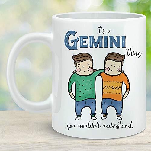 N\A Gemini Twins Castor and Pollux Zodiac Sign Taza de café Mayo Junio Regalo de cumpleaños Microondas Apto para lavavajillas Cerámica