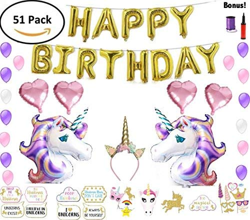 Unicorn Party Supplies Set & Unicorn Balloons | Party Decorations for Girls | 51Piece Decor Pack for Kids w/Photo Booth Props, Happy Birthday Banner, Unicorn Balloon Kit, Unicorn Headband, Air Pump