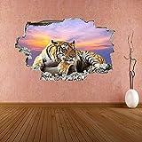 Tiger Sky Sunset Wildlife 3D Etiqueta de la pared Mural Decal Kids Room Decoración para el hogar Poster Mural Artístico - 60x90CM