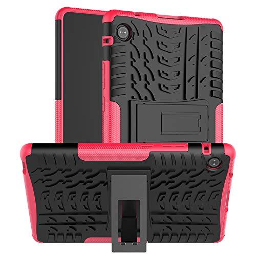 QYiD Funda para Lenovo Tab 4 10, Doble Capa Anti-Choques Carcasa de Silicón y PC con Soporte Función para Lenovo Tab 4 10 Inch (TB-X304F / TB-X304L / TB-X304X), Rosa