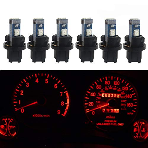 WLJH 6pcs Canbus Error Free T5 74 37 27 17 2721 3030SMD Led Dash Lights Bulbs Gauge Cluster Dashboard Instrument Panel Light Lamps Bulb Twist Lock Socket (Red)