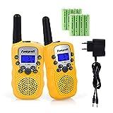 Funkprofi 2X T-388 Walkie Talkie Set für Kinder Funkgeräte PMR 446 mit Akkus Ladekabel 3KM Reichweite 8 Kanal Spielzeug und Geschenk für Kinder ab 3 Jahre (Gelb)