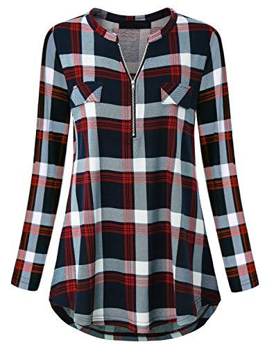 Blusa de manga larga con cuello en V para mujer, con cremallera, azul marino, S