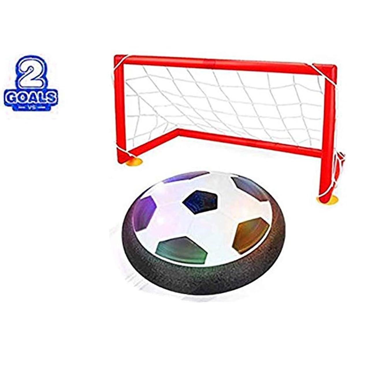 法医学チート即席AQUEOUS空気の力で浮く 室内用サッカーおもちゃ LEDホバーボールLEDホバーボール 空気の力で浮く 室内用サッカーボール 玩具 (2つゴール付き)