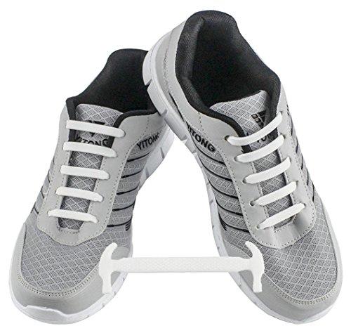 WELKOO® Lacci elastici in silicone che non vanno allacciati, impermeabili, adatti a scarpe per adulti - 16 pezzi, Taglia ADULT bianco