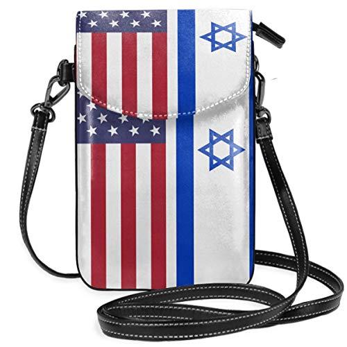 Borsa a tracolla piccola per cellulare con borsa a tracolla con bandiera americana israeliana con tracolla rimovibile