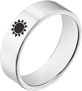 Titanium Steel Moon with Stars OR Sun Rings for Unisex Forever Real Love Lovers Ring Promise Wedding Bands Promise Couple Rings Size6-12