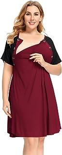 Plus Size Nursing Dresses for Women Breastfeeding Button...