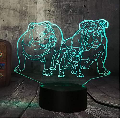 Mignon Chiot Famille Bulldog 3D Led Veilleuse Belle Chien Chien Animal Table Maison Sommeil Maison Décor Lampe Enfant Enfant Cadeau