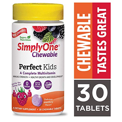 SimplyOne Chewable Multivitamin for Kids, Daily All-in-One Vitamin by SuperNutrition, 30 Day Supply; Best Value Pack