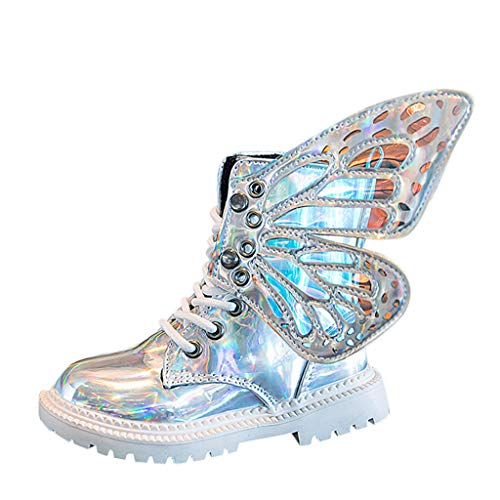 Kinder Mädchen Stiefel Schnürstiefel mit Schmetterling Flügel Armee-Boot Stiefel warme Schuhe Schuhe Lackleder Winter Stiefel Schuhe Schneeschuhe Schnürschuh komfortabel Kinderschuhe (Silber, 36)
