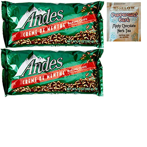 Andes Mint Chocolate Creme De Menthe Baking Chips. Perfect For Winter Baking and Christmas Dessert Treats. Who Doesn't Love Home Made Holiday Treats? Also: Bigelow Peppermint Tea Sample.