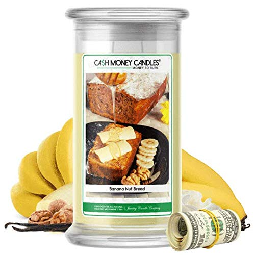 Cash Money Candles | $2-$2500 Inside | Guaranteed Rare $2 Bill | Large Long-Lasting 21oz Jar All Natural Soy Candle | Hand Poured Made in The USA Family Owned (Banana Nut Bread)