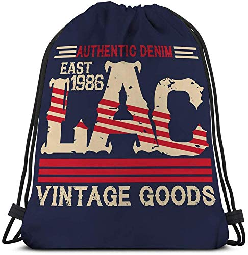 ASFFEE Customized Men's And Women's Sports Drawstring Bag Vintage Los Angeles Typography la Graphic pr Printing Man Lac Original Clothing