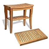 Bambusi Bamboo Bathroom Stool Bench with Floor Mat - 100% Natural...