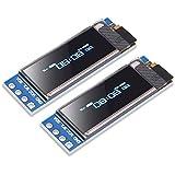 Dorhea 2pcs 0.91 OLED I2C Display Module IIC 0.91 inch I2C SSD1306 LED DC Display Module Blue I2C LCD 128x32 Screen Driver Compatible with Arduino OLED 3.3V~5V
