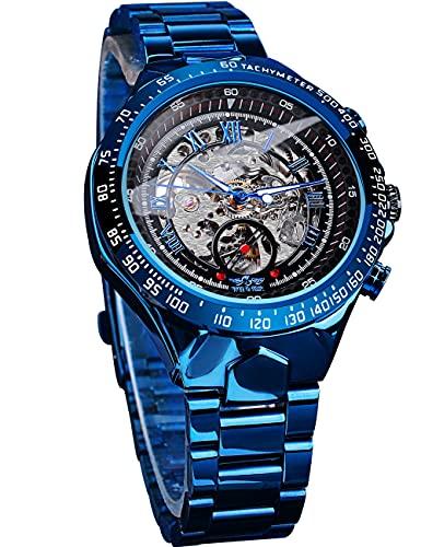 Ganador de moda relojes automáticos para hombres analógico unisex reloj de pulsera mecánico azul esqueleto relojes de acero inoxidable