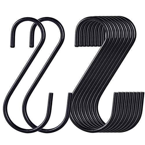 30 Pack Black S Hooks,Heavy Duty Metal Hooks Can with Stand up to 33 pounds.for Kitchen,Office,Garden or Outdoor Activities