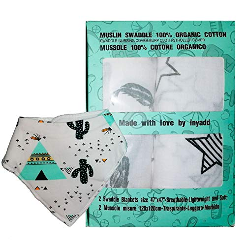 Muselinas para bebé 120 x 120 cm, algodón ecológico 100 %, certificado Gots, 2 mantas de muselina, manta para cuna, cochecito, sábana, suave, unisex, más babero de regalo (estrella-pluma)